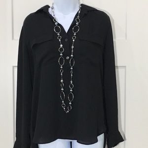 Ann Taylor Black Long Sleeve blouse. Size small
